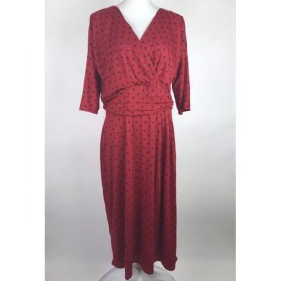 J. Peterman Dresses & Skirts - J. Peterman Dress Red Black Polka Dot Ruched Midi